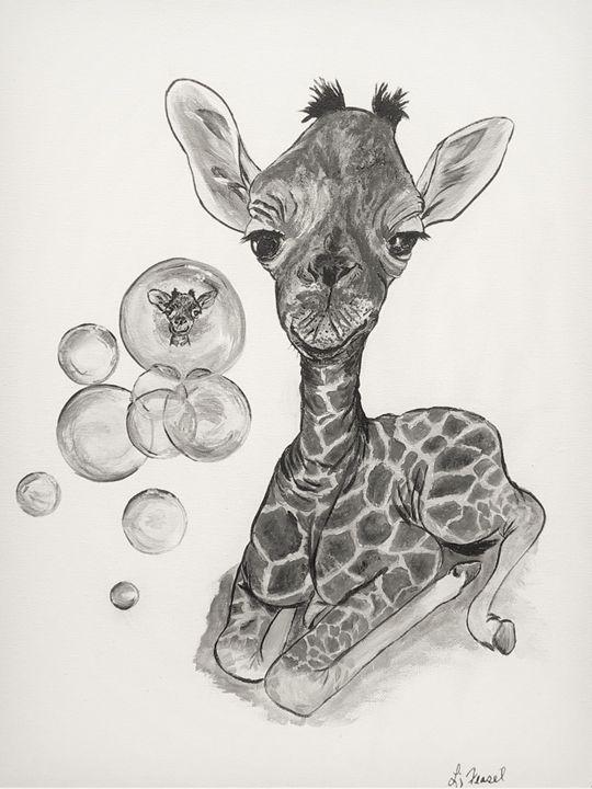 Fun with Bubbles - Giraffe - Lj Feasel - Artist
