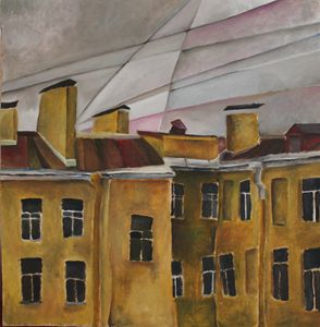 From the window: roofs and wires