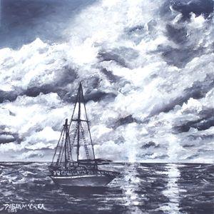Sailing sailboat at night