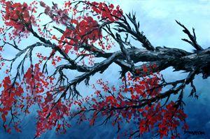 Cherry Blossum Acrylic Painting