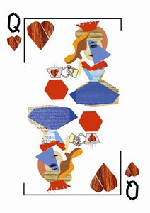 Queen Hearts Card Synthetic Cubism
