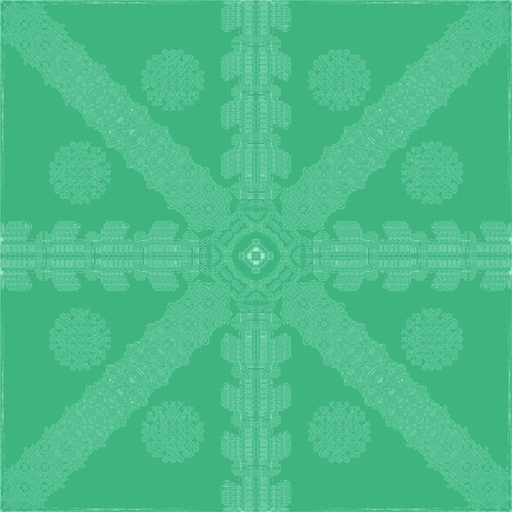 Cyan-Green Ink Snowflake - Ink Snowflakes
