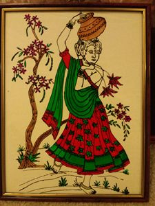 Village lady glass painting