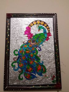 Elegant peacock glass painting