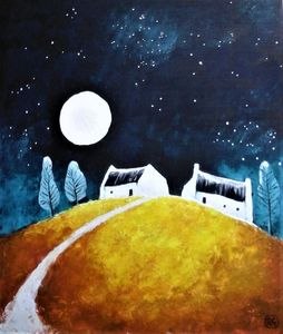 cottages in the moon and starlight