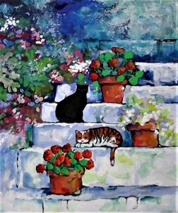 cats on the steps with geraniums