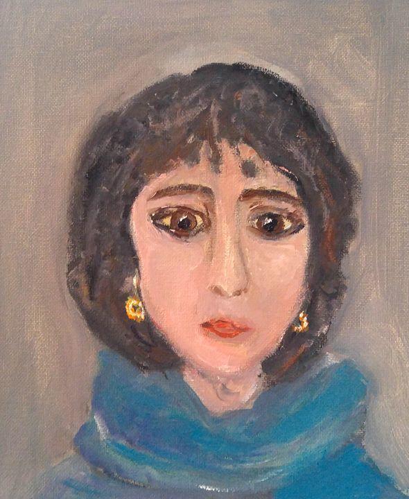 Portrait avec écharpe bleue - CS art