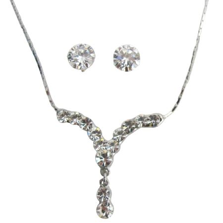 Sparkling Crystal Clear Necklace Set - Handcrafted jewelry FashionJewelryForEveryone.com