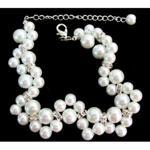 Bridal Bracelet Twisted White Pearl