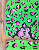 16x20 birds on cheetah tree