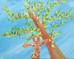 Giraffe under the tree