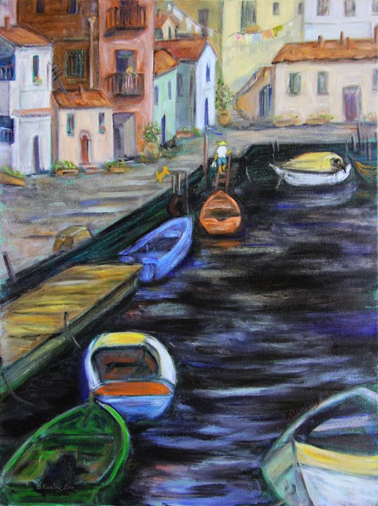Boats In Front Of The Buildings IIi - Art by Xueling Zou