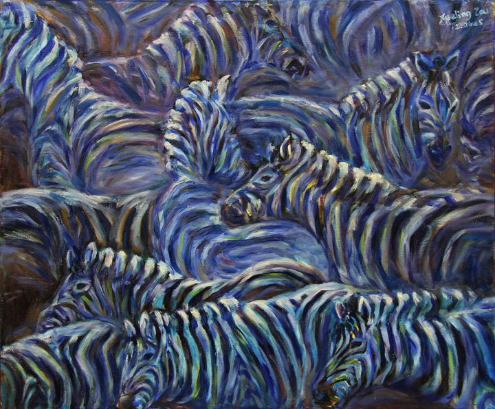 A Group Of Zebras - Art by Xueling Zou