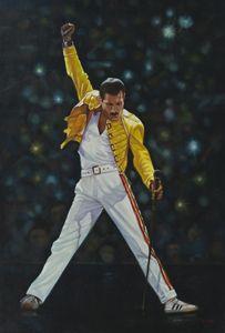 Freddie Mercury of Queen on stage