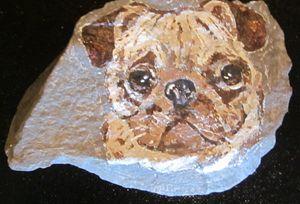 Pug Dog On Stone