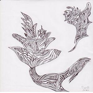 Sleek Flower Design with Bird