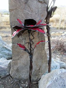 metal flower - ruff cut wood and metal
