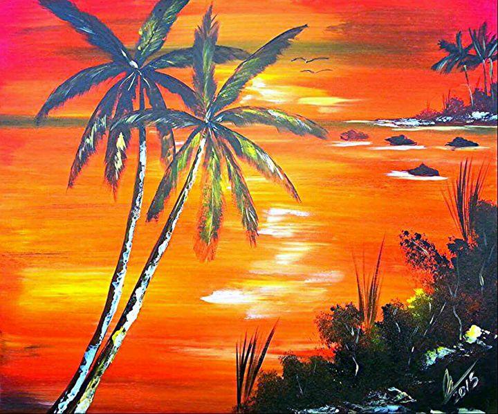 Coconut Palms Sunset
