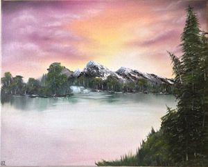 16x20 Mountain Sunrise Oil Painting