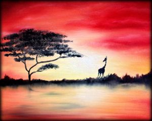 """16""""x20"""" African Sunset Oil Painting"""