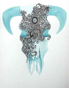 Turquoise Skull with Brown Detail