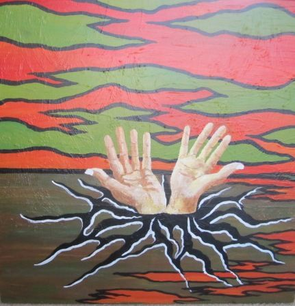 Talking him and her hands - Sheffield Art