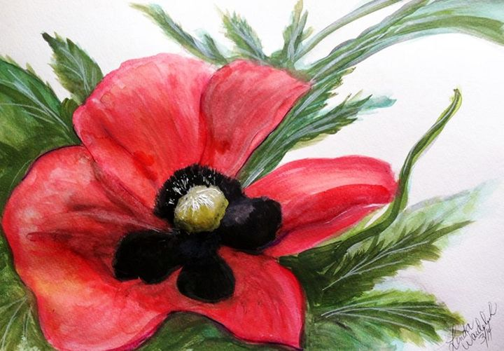 Red Poppy Study Painting #2 in serie - Linda Waidelich