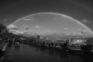 Double rainbow- Niagara Falls in BW