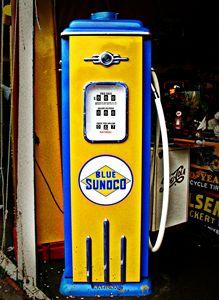 Blue Sunoco vintage gas pump