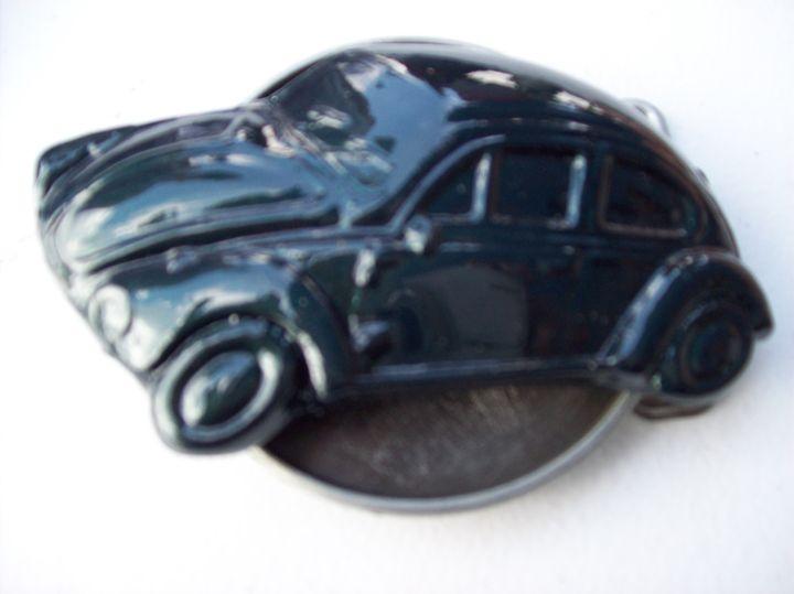 Dark Green VW beetle belt buckle - Watts Kreations