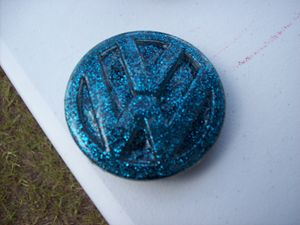 Metallic Teal VW Emblem Belt Buckle