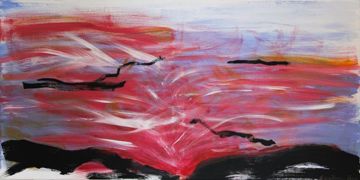 "I-87 Sunset 24""x48"" - Art by Ginny Rossin"