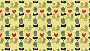 Yellow Kawaii Cactus Background