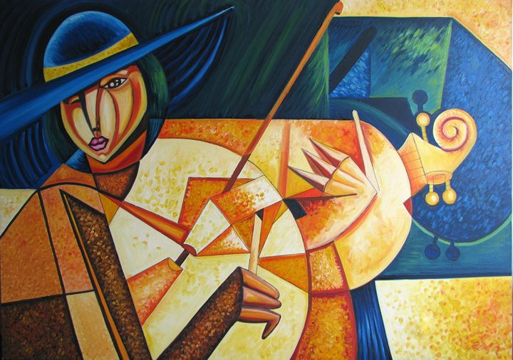 Woman with violin - Cuban Paintings