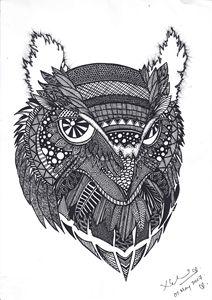 Owl- Black ink
