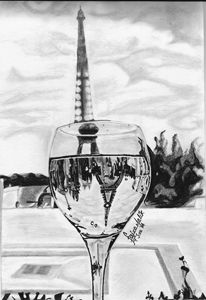 Eiffel tower in a glass
