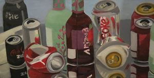 Pop Cans on a Mirror Diptych