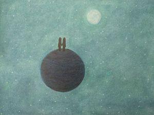Moon Stars Romantic Couple on Planet