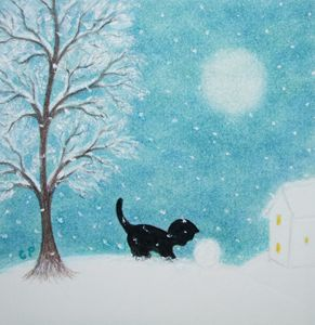 Cat and Snowball (Framed)