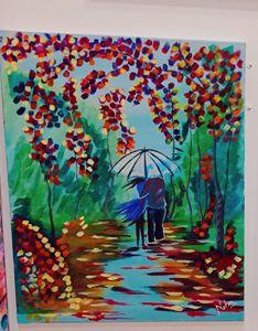 Couple Walking in Rain
