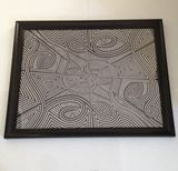 25x31 framed black ink drawing
