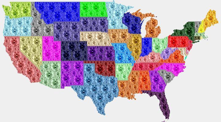 Diamonds Map of USA - Portraits by Samuel Majcen