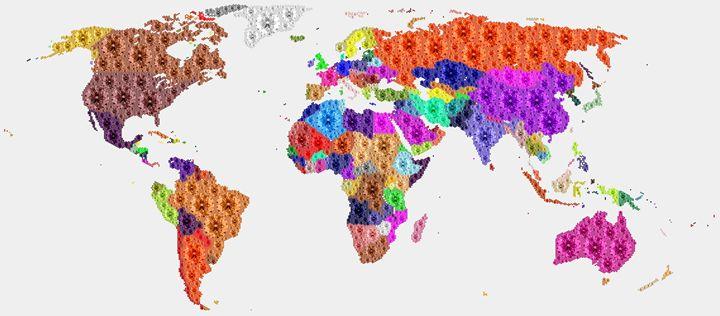 Diamonds Map of World - Portraits by Samuel Majcen