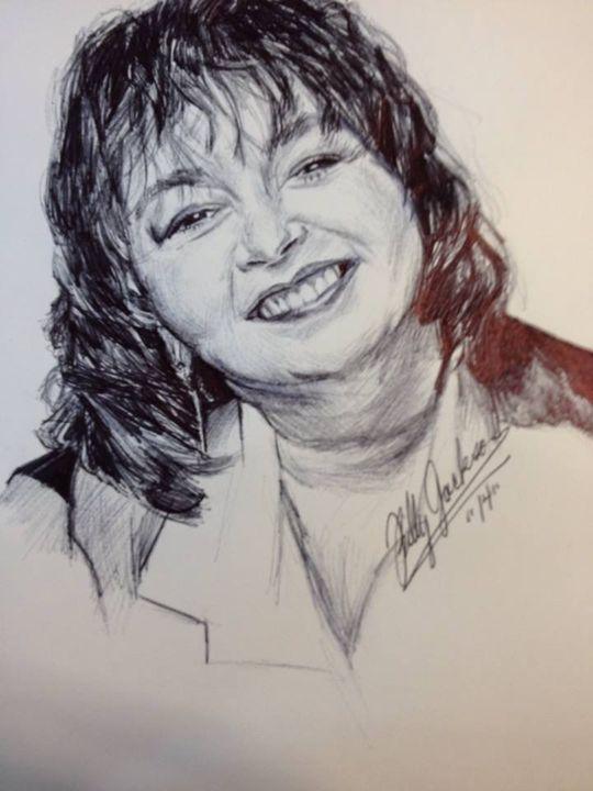 Roseanne Barr Ink Pen Portrait - Billy Jackson