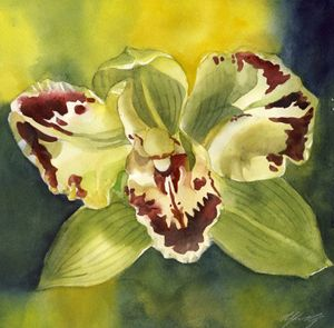 green orchid with yellow