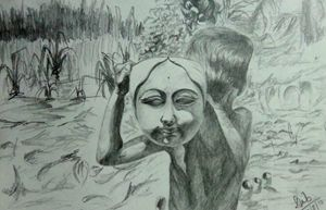 sketch of Child playing with God