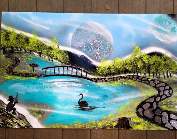 Swan. - Spray Paintings by Lorena