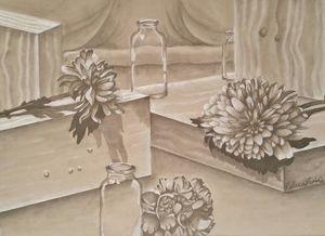 Bloques entre flores y botellas