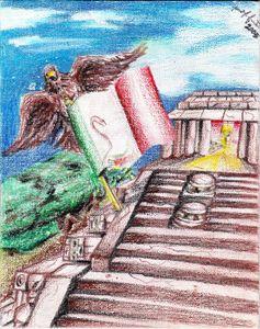Mexico Flag n eagle w Aztec