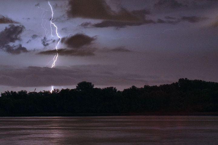 Lightning Strike over River - PhillySnaps